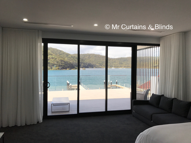 S fold sheer curtains and Blockout lining Booker Bay Central Coast Fabric Kasos by Warwick